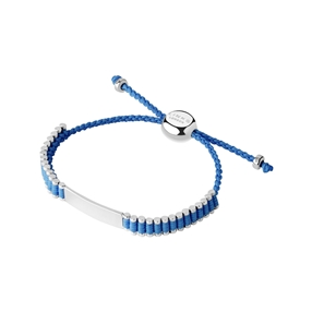 Sterling Silver & Blue Cord Baby Friendship ID Bracelet-