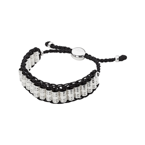 Venture Mens Woven Cord Black Bracelet-