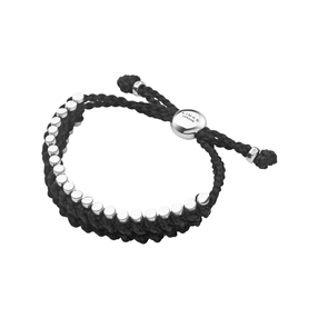 Friendship Mens Sterling Silver & Black Cord Rope Bracelet-