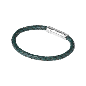 Venture Mens Green Leather Bracelet-
