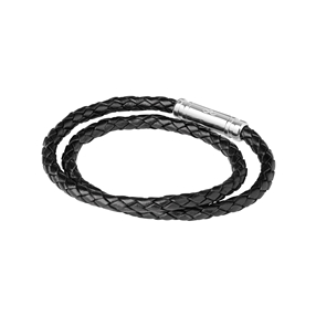 Venture Mens Black Leather Double Wrap Bracelet-