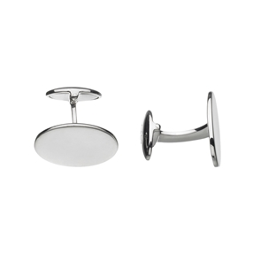 Sterling Silver Classic Oval Cufflinks-