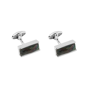 Sterling Silver Black Mother of Pearl Double Cufflinks-