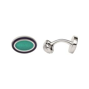 Sterling Silver & Turquoise Enamel Guilloche Cufflinks-