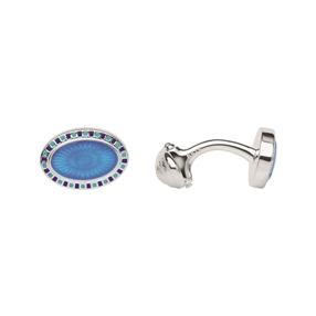 Ασημένια Μανικετόκουμπα με μπλε επισμάλτωση-