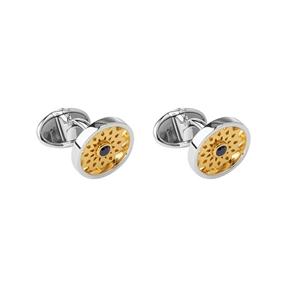 Timeless Sterling Silver, 18kt Yellow Gold Vermeil & Onyx Cufflinks-