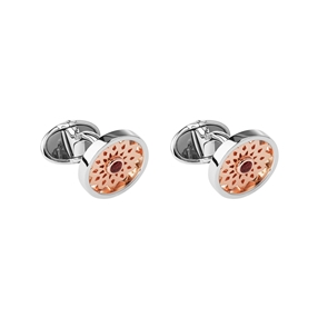 Timeless Sterling Silver, 18kt Rose Gold Vermeil & Garnet Cufflinks-