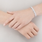 Sterling Silver & White Pewter Cord Mini Friendship Bracelet-