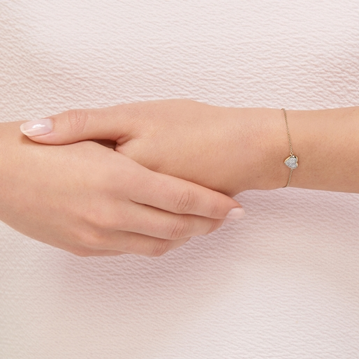 Diamond Essentials Ασημένιο βραχιόλι με επιχρύσωση 18 καρατίων και διαμάντια-