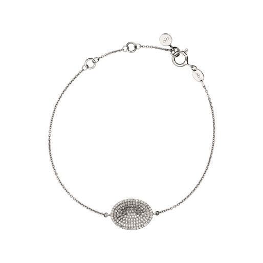 Diamond Essentials Concave Ασημένιο βραχιόλι με διαμάντια-