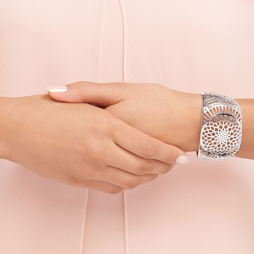 Timeless Ασημένια Χειροπέδα-Sweetie Ασημένιο Βραχιόλι με διαμάντια και χρυσούς κρίκους