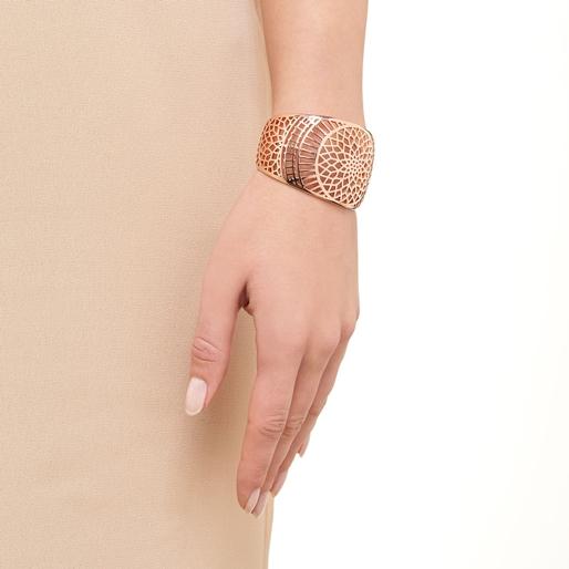 Timeless Ασημένια χειροπέδα με ροζ επιχρύσωση 18 καρατίων-