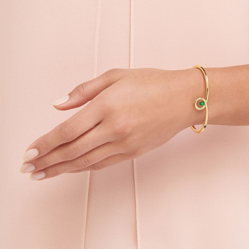 Serpentine 18kt Yellow Gold Vermeil & Green Chalcedony Gemstone Cuff-