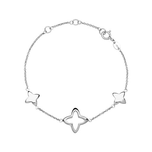 Splendour Sterling Silver Open Four-Point Star Station Bracelet-
