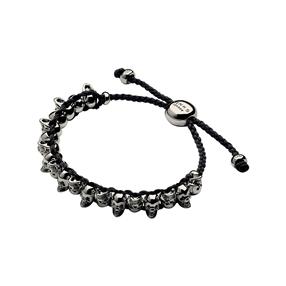 Ruthenium & Black Cord Skull Friendship Bracelet-