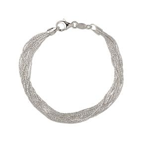 Essentials Sterling Silver Silk 10 Row Bracelet-
