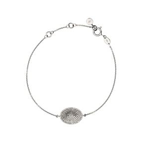 Concave Sterling Silver & Diamond Bracelet-