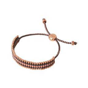 18kt Rose Gold Vermeil, Grey & Copper Glitter Cord Friendship Bracelet-