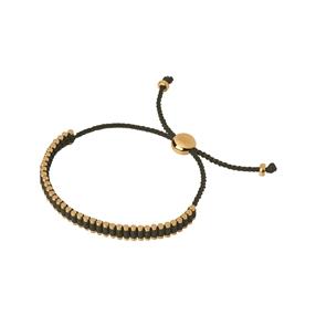 18kt Yellow Gold & Khaki Cord Mini Friendship Bracelet-