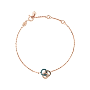 Treasured 18kt Rose Gold Vermeil, Champagne & Blue Diamond Bracelet-