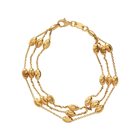 Essentials 18kt Yellow Gold Vermeil Beaded Chain 3 Row Bracelet-