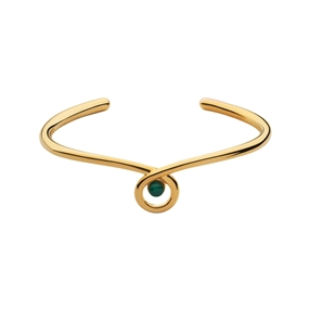 Serpentine 18kt Yellow Gold Vermeil & Green Chalcedony Gemstone Cuff-