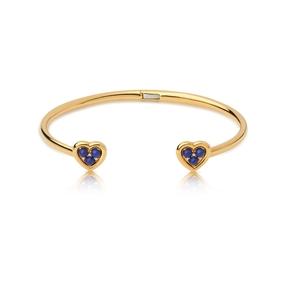 Open Heart Ασημένιο Βραχιόλι με επιχρύσωση 18 καρατίων, Lapis Lazuli και διαμάντια-