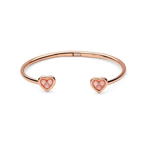 Open Heart 18kt rose gold-vermeil, pink opal & diamond cuff bracelet-