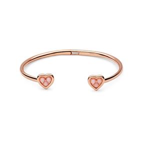 Open Heart Ασημένιο Βραχιόλι με ροζ επιχρύσωση 18 καρατίων, ροζ οπάλιο και διαμάντια-