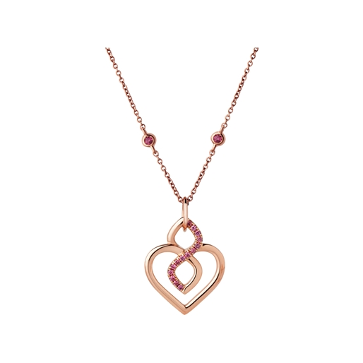 Infinite Love κολιέ από ροζ χρυσό 18 καρατίων και ημιπολύτιμους λίθους Garnet-