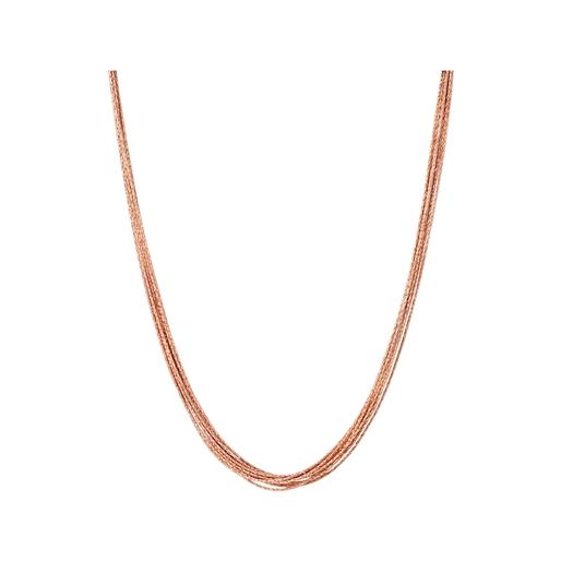 Essentials κολιέ 10 σειρών από ασήμι με ροζ επιχρύσωση 18 καρατίων -