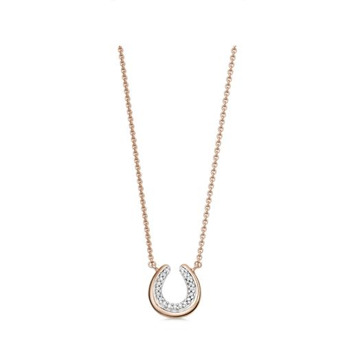 Ascot Diamond Essentials μενταγιόν από ασήμι με ροζ επιχρύσωση 18 καρατίων και διαμάντια-