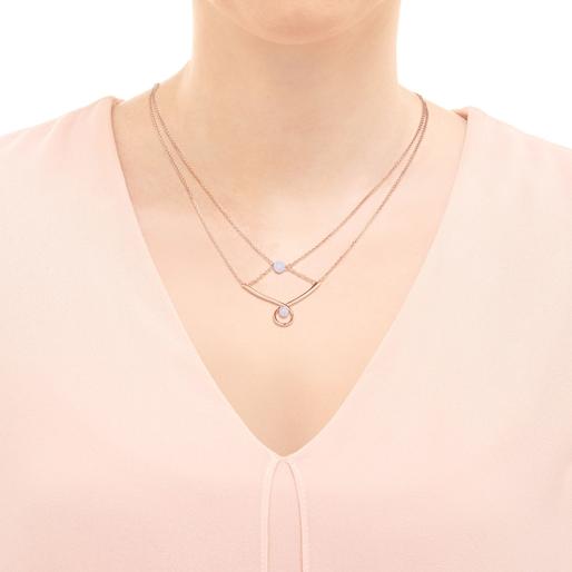 Serpentine 18kt Rose Gold Vermeil & Blue Lace Agate Gemstone Double Necklace-
