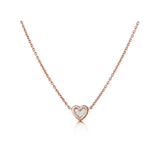 Diamond Heart Κολιέ από ροζ χρυσό 14 καρατίων και διαμάντια-