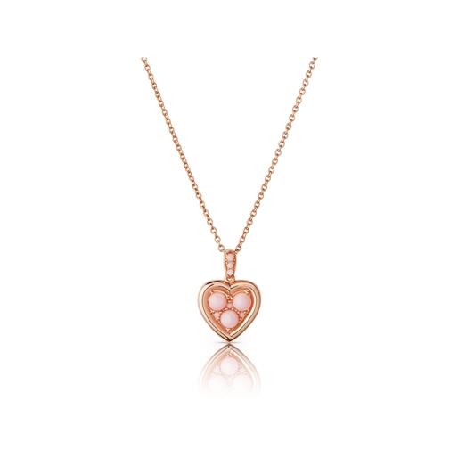 Open Heart Ασημένιο Μενταγιόν με ροζ επιχρύσωση 18 καρατίων και ροζ οπάλιο-