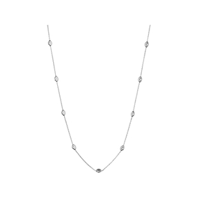Essentials Sterling Silver Beaded Chain 60cm-