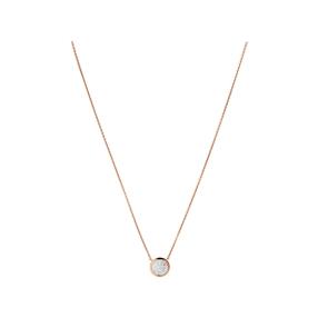 Diamond Essentials Ασημένιο κολιέ με ροζ επιχρύσωση 18 καρατίων και διαμάντια-