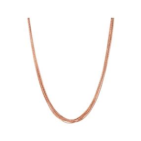Essentials 18kt Rose Gold Vermeil Silk 10 Row Necklace 45cm-