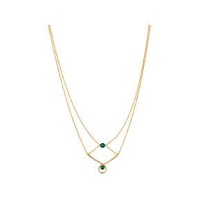 Serpentine 18kt Yellow Gold Vermeil & Green Chalcedony Gemstone Double Necklace-