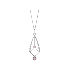 Serpentine Sterling Silver & Pink Opal Gemstone Pendant Necklace-