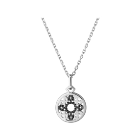 Timeless Sterling Silver & Black Sapphire Pendant Necklace-