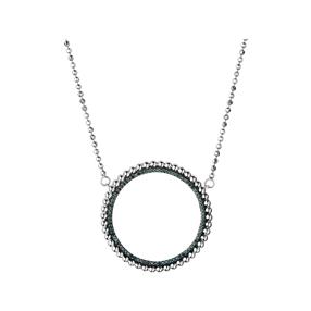 Effervescence Sterling Silver & Blue Diamond Halo Necklace-