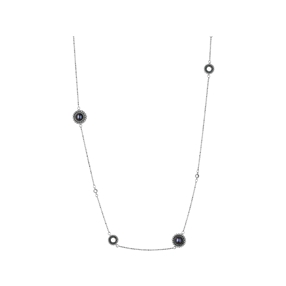Effervescence ασημένιο κολιέ με μπλέ διαμάντια και μαργαριτάρια-