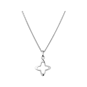 Splendour Sterling Silver Open Four-Point Star Necklace-