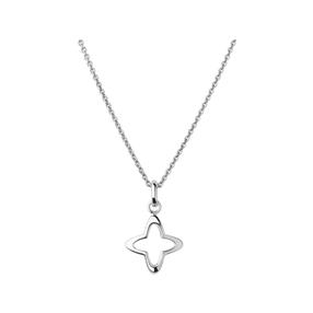 Splendour Sterling Silver Open Four-Point Star Necklace-