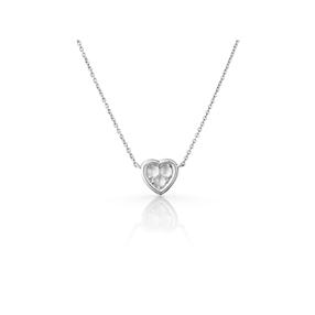 Open Heart sterling silver & moonstone mini pendant necklace-