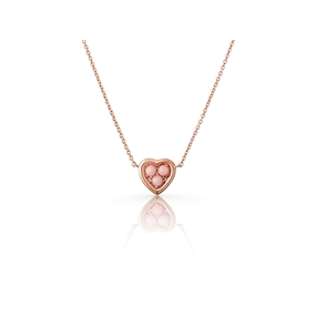 Open Heart 18kt rose gold-vermeil & pink opal mini pendant necklace-