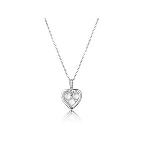 Open Heart sterling silver & moonstone pendant necklace-