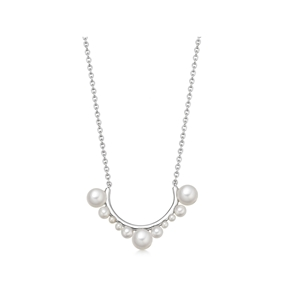 Orbs Pearl & Sterling Silver Large Curved Bar Necklace-