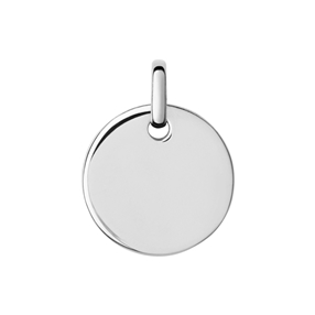 Narrative sterling silver round disc pendant-